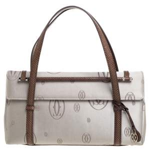 Cartier Grey/Brown Satin and Leather Karung Trimmed Happy Birthday Cabochon Flap Bag