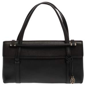 Cartier Black Leather Happy Birthday Cabochon Flap Bag