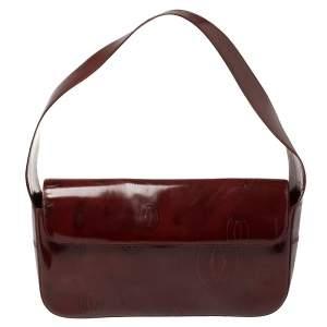 Cartier Burgundy Patent Leather Happy Birthday Shoulder Bag