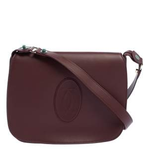 Cartier Burgundy Leather Medium Must de Cartier Flap Bag
