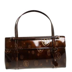 Cartier Brown Shine Leather Cabochon Flap Satchel