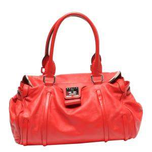 Cartier Red Leather  Turnlock Satchel