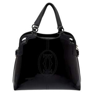 Cartier Black Patent Leather Marcello de Cartier Satchel