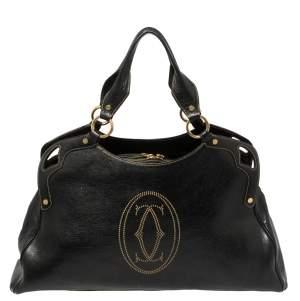 """Cartier Black Leather """"Marcello de Cartier"""" Shoulder Bag"""