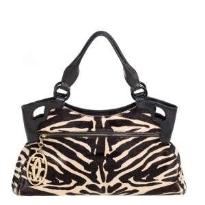 Cartier Beige/Black Zebra Print Pony Hair Leather Marcello de Cartier Satchel
