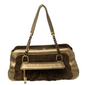 Cartier Gold Suede and Leather La Dona Shoulder Bag