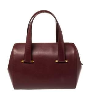 Cartier Burgundy Leather Zip Boston Bag