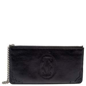 Cartier Metallic Black Leather Marcello de Cartier Clutch