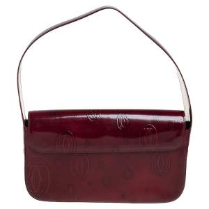 Cartier Burgundy Embossed Patent Leather Flap Baguette