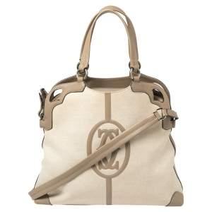 Cartier Beige/White Canvas and Leather Marcello De Cartier Satchel