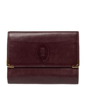 Cartier Burgundy Leather Trifold Wallet