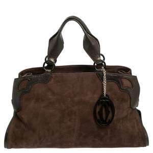 حقيبة كارتييه مارسلو دو كارتييه متوسطة جلد وسويدي بني