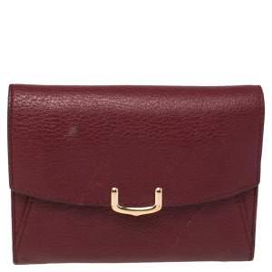 Cartier Wine Red Leather C De Cartier Compact Wallet