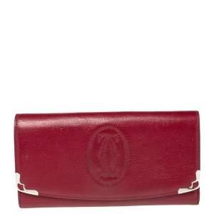 Cartier Burgundy Leather Marcello de Cartier Flap Wallet