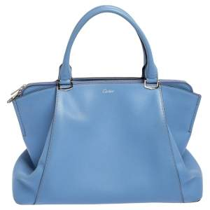 Cartier Light Blue Leather C De Cartier Medium Satchel