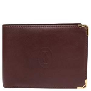 Cartier Maroon Leather Must De Cartier Bifold Wallet