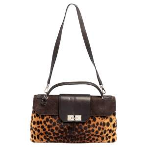 Cartier Brown Animal Print Calf Hair, Suede and Leather Feminine Line Top Handle Bag