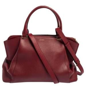 Cartier Red Leather C De Cartier Medium Satchel