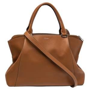 Cartier Brown Leather C De Cartier Medium Satchel