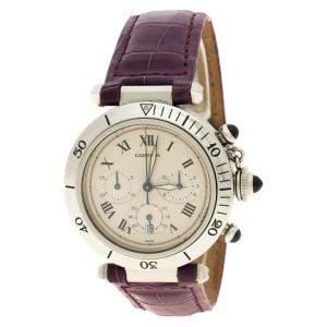 ساعة يد نسائية كارتييه مع سوار جلد تمساح باشا دو كارتييه 1050 ستانلس ستيل بيضاء 38 مم