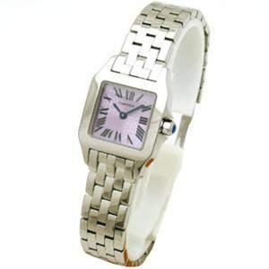 Cartier Purple Stainless Steel Small Santos Demoiselle Women's Wristwatch 19MM