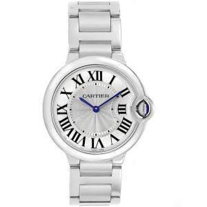 Cartier Silver Stainless Steel Ballon Bleu W69011Z4  Women's Wristwatch 36.6MM