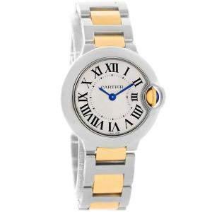 Cartier Silver Stainless Steel Ballon Bleu W69007Z3 Women's Wristwatch 29MM