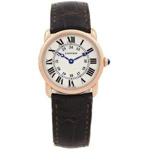 Cartier Silver 18K Rose Gold Ronde Louis W6800151 Women's Wristwatch 29MM