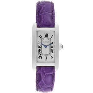Cartier Silver 18K White Gold Tank Americaine W2601556 Women's Wristwatch 19MM