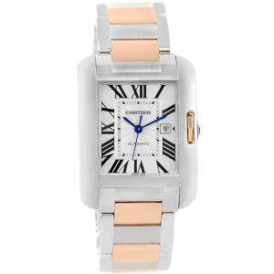 Cartier Silver Stainless Steel Tank Anglaise W5310007 Large Women's Wristwatch 29.8MM