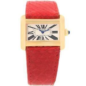 Cartier Silver 18K Yellow Gold Tank Divan W6300356 Mini Women's Wristwatch 31MM