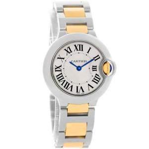 Cartier Silver Stainless Steel and 18K Yellow Gold Ballon Bleu Small W69007Z3 Women's Wristwatch 29MM