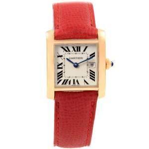 Cartier Silver 18K Yellow Gold Tank Francaise Midsize W50014N2 Women's Wristwatch 25x30MM