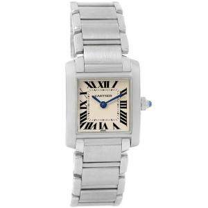 Cartier Silver Stainless Steel Tank Francaise W51008Q3 Women's Wristwatch 20x25MM