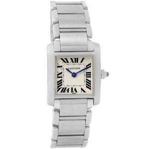 Cartier Silver Stainless Steel Tank Francaise Small W51008Q3 Women's Wristwatch 20x25MM
