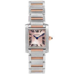 Cartier Silver 18K Rose Gold and Stainless Steel Tank Francaise 160th Anniversary W51036Q4 Women's Wristwatch 20x25MM