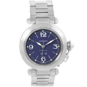 Cartier Blue Stainless Steel Pasha C Date W31047M7 Women's Wristwatch 35MM