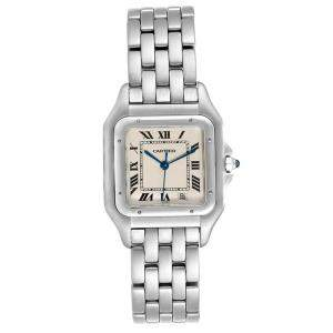 Cartier White Stainless Steel Panthere W25054P5 Women's Wristwatch 26x36MM