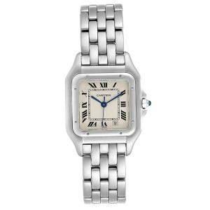 ساعة يد نسائية كارتييه بانتيري W25054P5 ستانلس ستيل بيضاء 26x36 مم