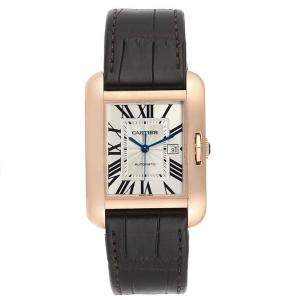 Cartier Silver 18K Rose Gold and Leather Tank Anglaise W5310005 Women's Wristwatch 39x30MM