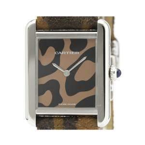 Cartier Black/Brown Stainless Steel Tank Solo W5200016 Women's Wristwatch 28 MM