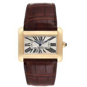 Cartier Silver 18K Yellow Gold and Leather Tank Divan W6300856 Women's Wristwatch 38.0 x 30.0MM