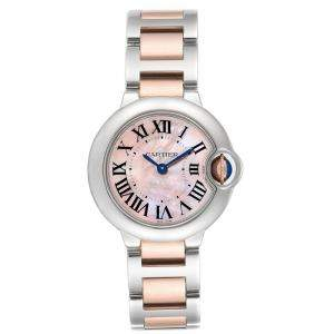 ساعة يد نسائية كارتييه بالون بلو W6920034 صدف و ذهب وردي عيار 18 و ستانلس ستيل وردية 28 مم