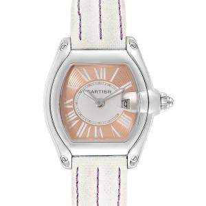Cartier Coral Pink Stainless Steel Roadster and Canvas W62054V3 Women's Wristwatch 36 x 30MM