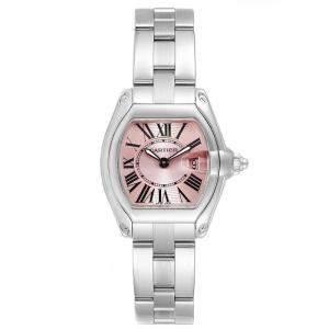 Cartier Pink Stainless Steel Roadster W62017V3 Women's Wristwatch 36 x 30MM