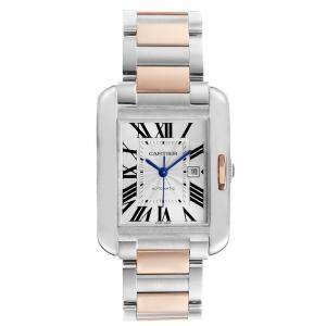 Cartier Silver 18K Rose Gold and Stainless Steel Tank Anglaise W5310007 Women's Wristwatch 39.2 x 29.8 MM