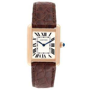 ساعة يد نسائية كارتييه تانك سولو W5200024 ذهب وردي عيار 18 و جلد فضية 30x23 مم