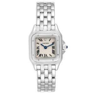 Cartier Silver 18K White Gold Diamond Panthere 1660 Women's Wristwatch 22MM