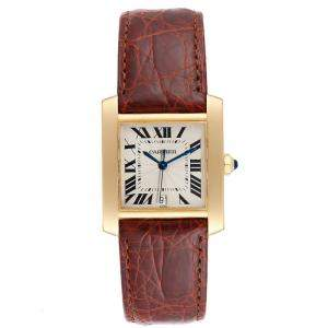 Cartier Silver 18K Yellow Gold and Leather Tank Francaise W5000156 Women's Wristwatch 28x32MM