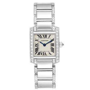 Cartier Silver 18K White Gold Diamond Tank Francaise WE1002SF Women's Wristwatch 20x25MM